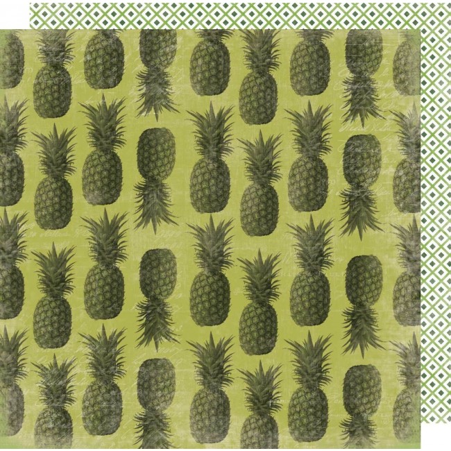 Papel Estampado Doble Cara 12x12 Pineapple Crush Pina Colada