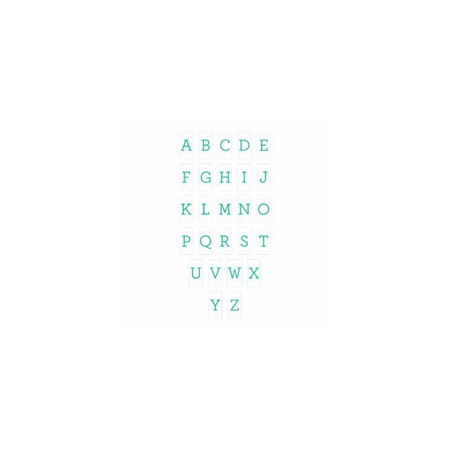 Insertos Lightbox - Alphabet/Serif Teal On White