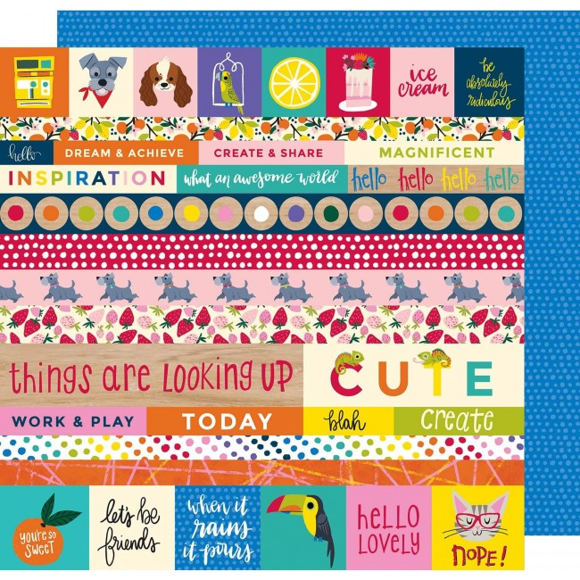Papel Estampado Doble Cara 12x12 - Box Of Crayons - All The Things