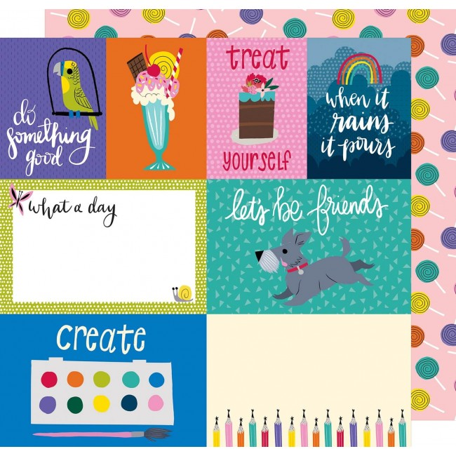 Papel Estampado Doble Cara 12x12 - Box Of Crayons - Treat Yourself