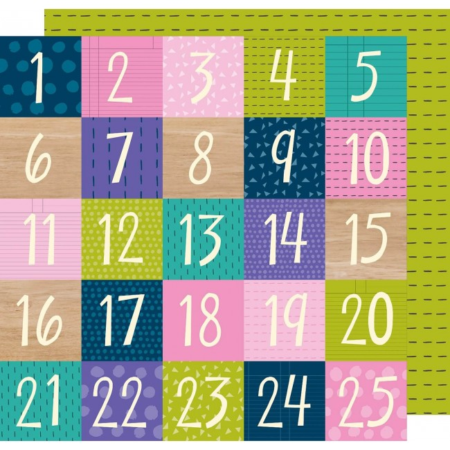 Papel Estampado Doble Cara 12x12   Box Of Crayons   Countdown