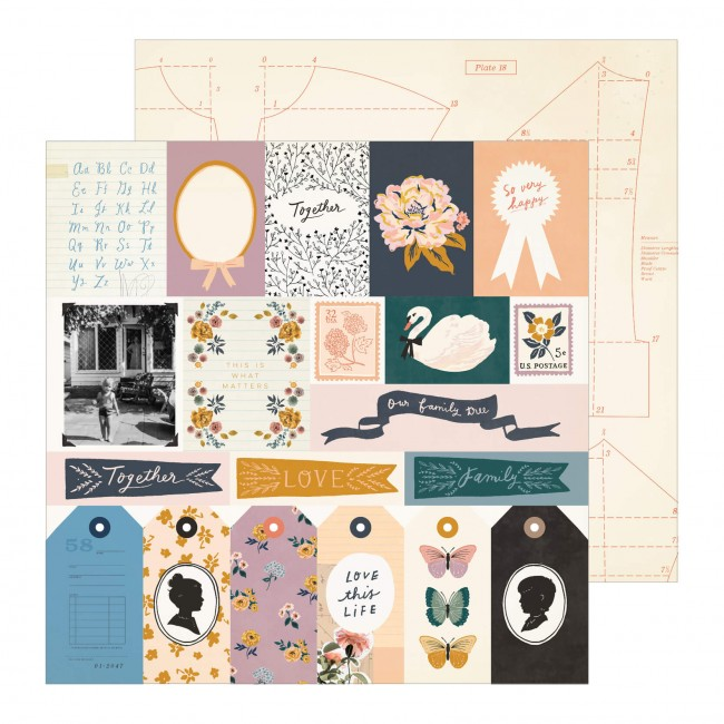 Papel Estampado Doble Cara 12x12 Maggie Holmes Heritage Recollection