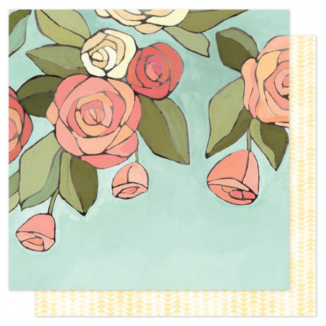 Papel Estampado Doble Cara 12x12 Saturday Afternoon Afternoon Roses