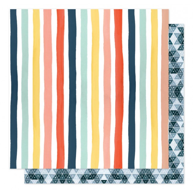 Papel Estampado Doble Cara 12x12 Saturday Afternoon Sunshine Stripes