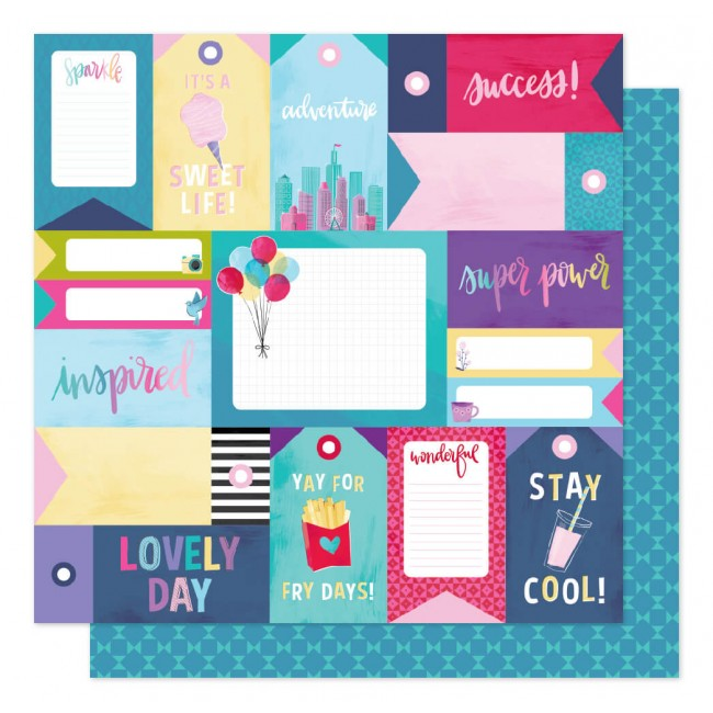 Papel Estampado Doble Cara 12x12 Sparkle City Stay Super
