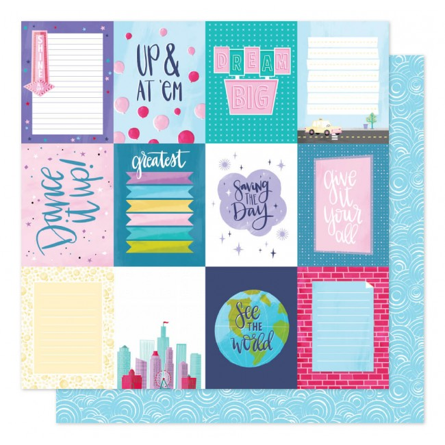Papel Estampado Doble Cara 12x12 Sparkle City Dream Big
