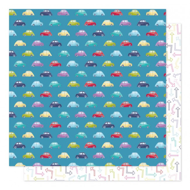 Papel Estampado Doble Cara 12x12 Sparkle City Traffic Jam