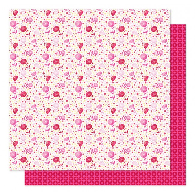 Papel Estampado Doble Cara 12x12 Sparkle City Polka Dot Pansy