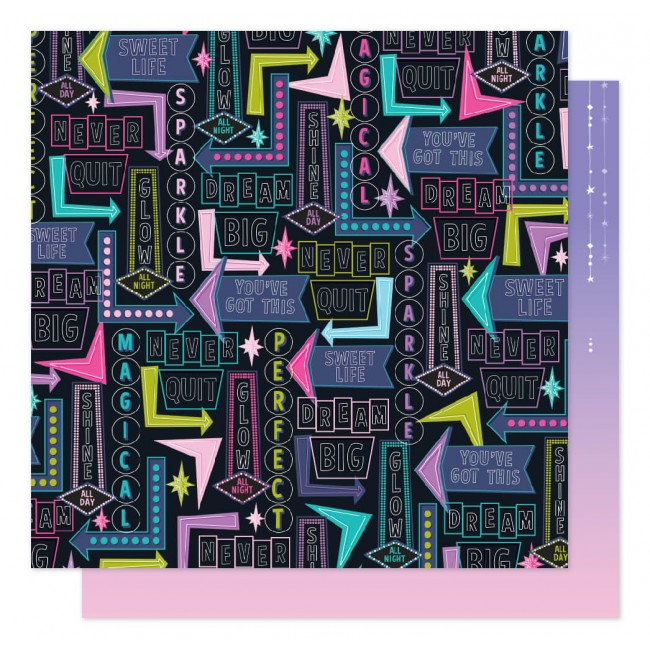 Papel Estampado Doble Cara 12x12 Sparkle City Shine All Day