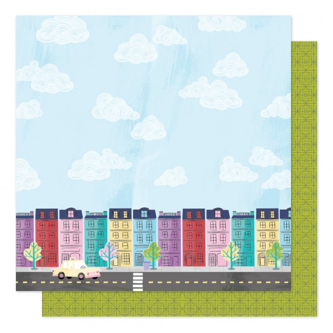 Papel Estampado Doble Cara 12x12 Sparkle City Painted Ladies
