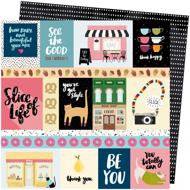 Papel Estampado Doble Cara 12x12 Slice Of Life Amy Tangerine We Click