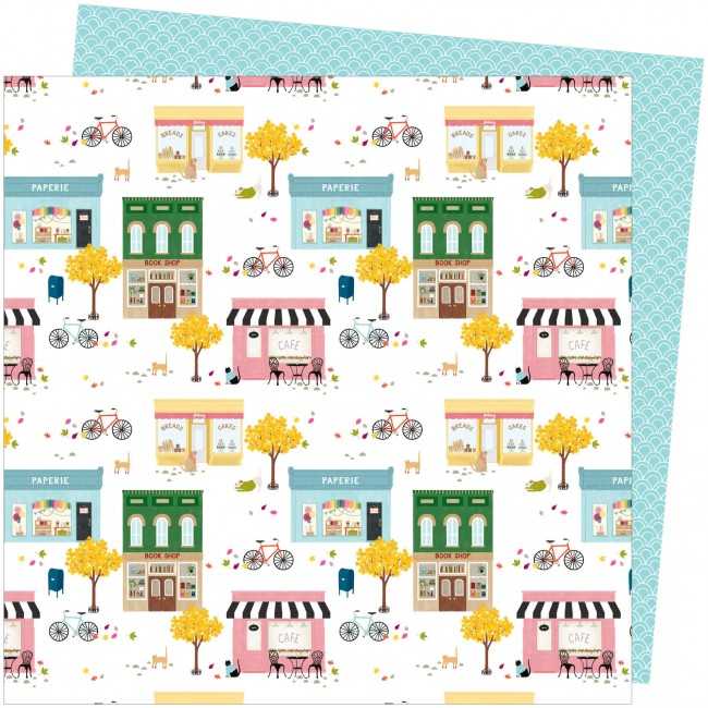Papel Estampado Doble Cara 12x12 Slice Of Life Amy Tangerine My Town