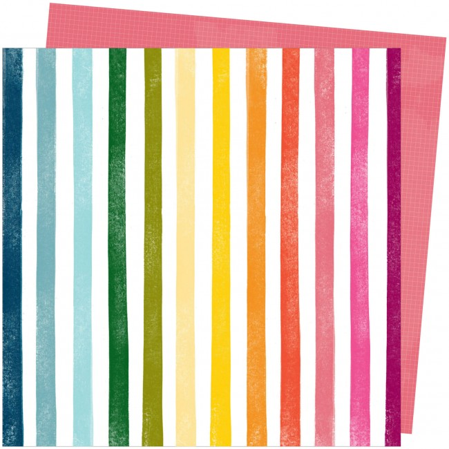 Papel Estampado Doble Cara 12x12 Slice Of Life Amy Tangerine Rainbow Hall