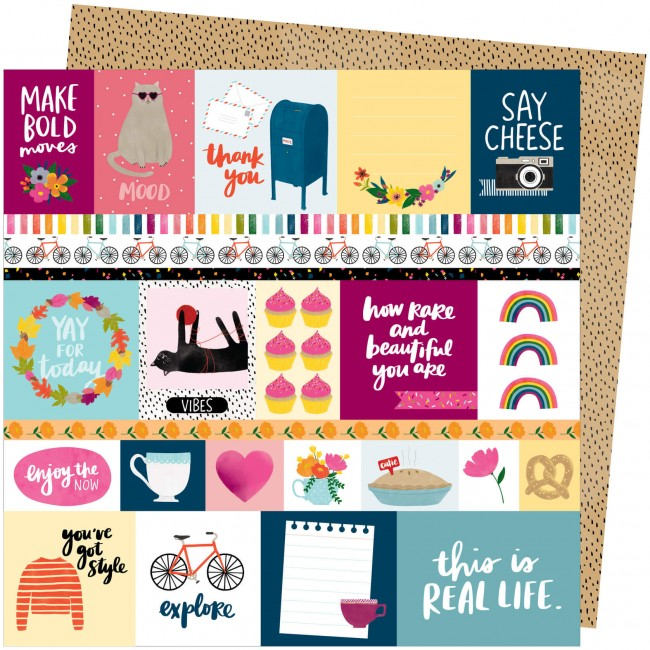 Papel Estampado Doble Cara 12x12 Slice Of Life Amy Tangerine Bold Moves