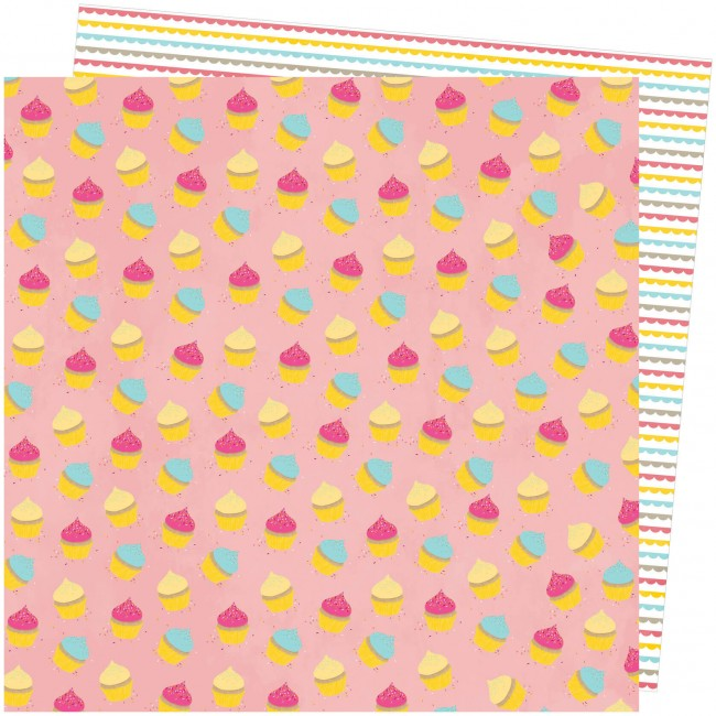 Papel Estampado Doble Cara 12x12 Slice Of Life Amy Tangerine My Cupcake