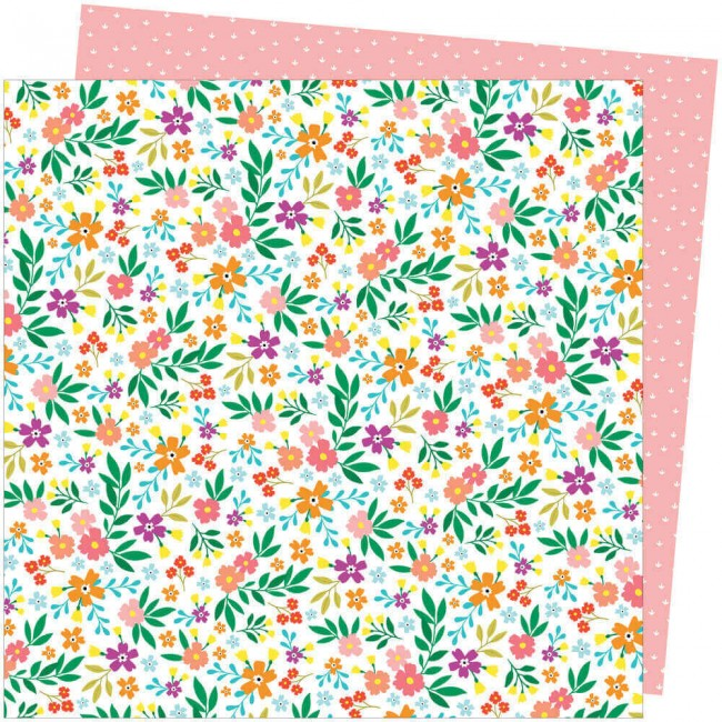 Papel Estampado Doble Cara 12x12 Picnic In The Park Amy Tangerine Petaluma Petunia
