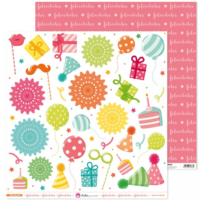 Papel Estampado Doble Cara 12x12 Felicidades Recortables