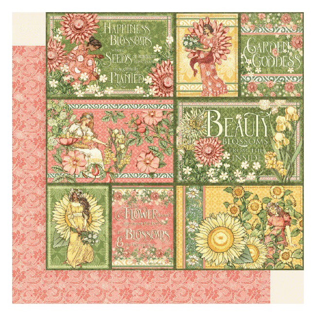 Papel Estampado Doble Cara 12x12 Garden Goddess Shine From Within