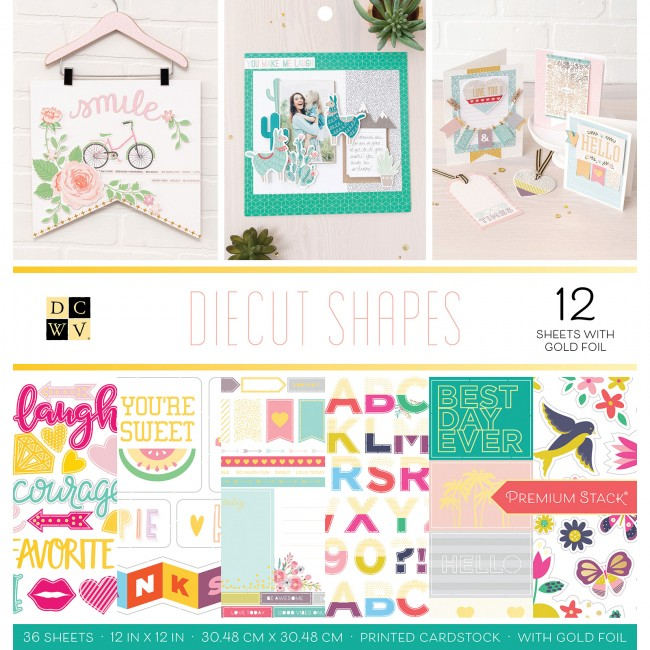 Stack Papeles Estampados 12x12 Diecut Shapes