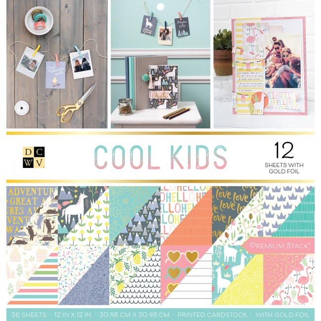 Stack Papeles Estampados 12x12 Cool Kids