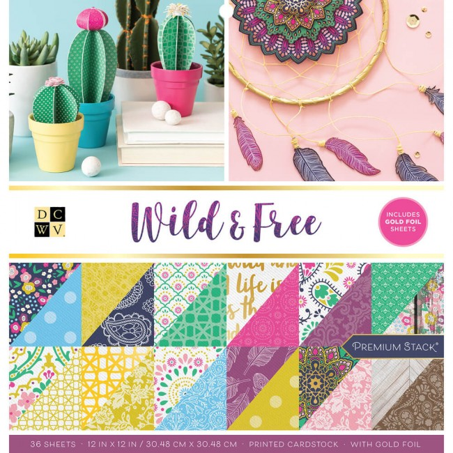 Stack Papeles Estampados 12x12 Wild and Free