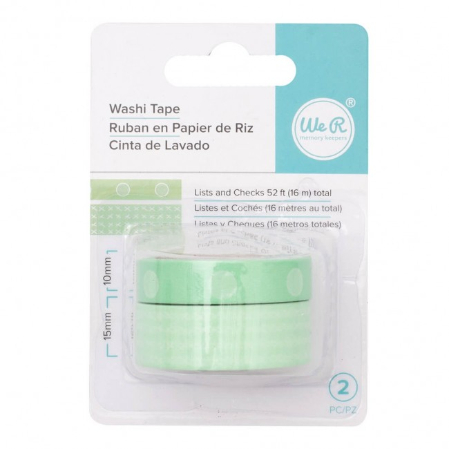 Washi Tape - Lists & Checks / Mint