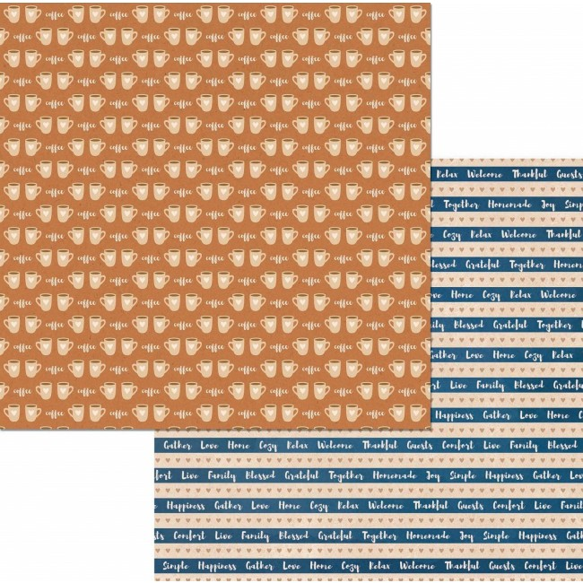 Papel Estampado Doble Cara 12x12 - Stay Awhile - Coffee