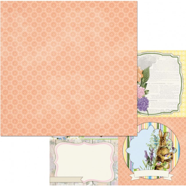 Papel Estampado Doble Cara 12x12 Cottontail Bunnies