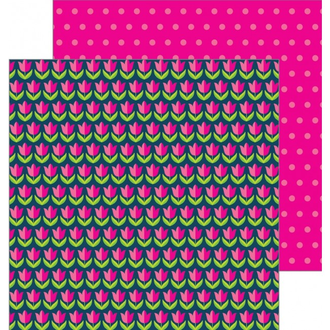Papel Estampado Doble Cara 12x12   Patio Party   Tulips