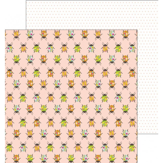 Papel Estampado Doble Cara 12x12 - Patio Party - Painted Beetles