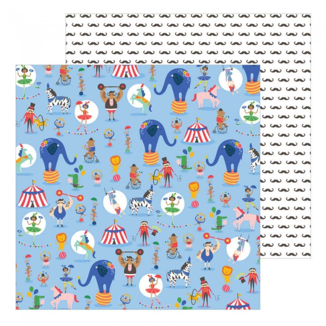 Papel Estampado Doble Cara 12x12 Big Top Dreams Amazing Show