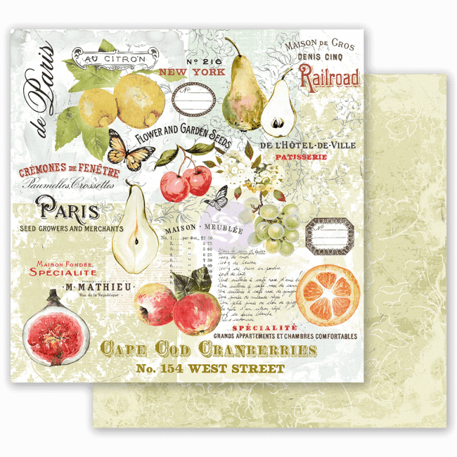 Papel Estampado Doble Cara 12x12 Fruit Paradise The Special