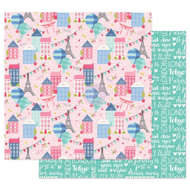 Papel Estampado Doble Cara 12x12 Traveling Girl Somewhere In Europe