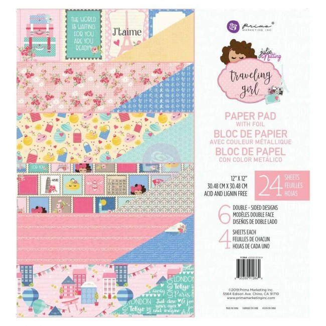Stack Papeles Estampados 12x12 Traveling Girl