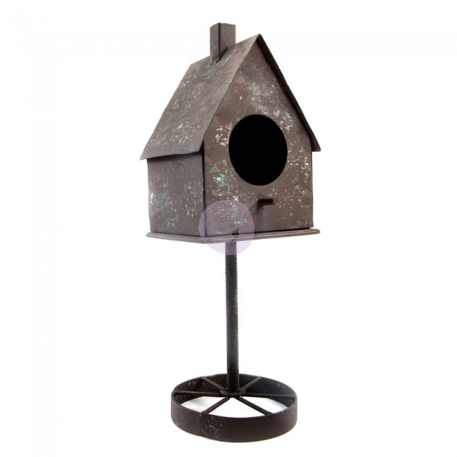 Soporte de metal Rusty Bird House