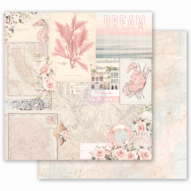 Papel Estampado Doble Cara 12x12 Golden Coast California Dreaming