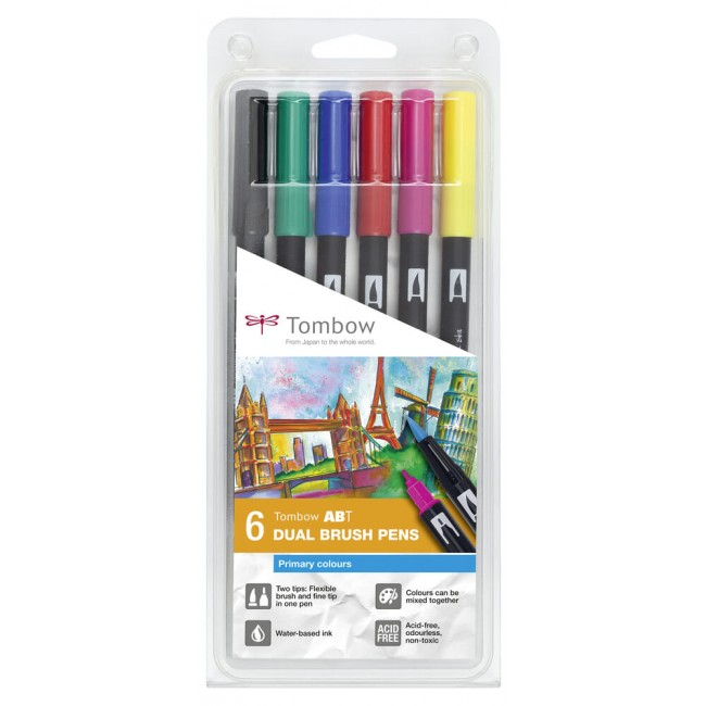 Set 6 Rotuladores Tombow Dual Brush Colores Primar