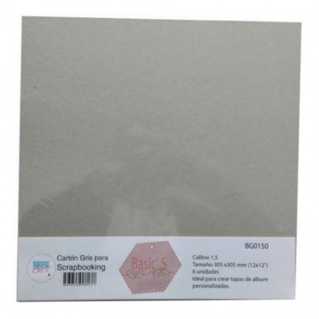 "Set de 6 Chipboard 12"" x 12"" 1 mm"