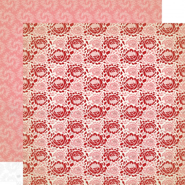 Papel estampado Doble cara 12x12-Amour-Roses Are Red