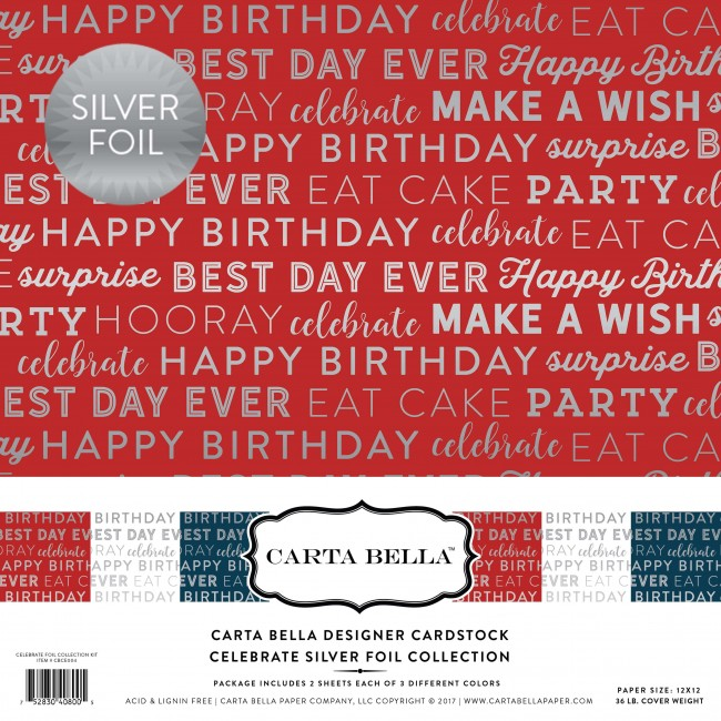 Kit cartulinas 12x12 - Celebrate Silver Foil