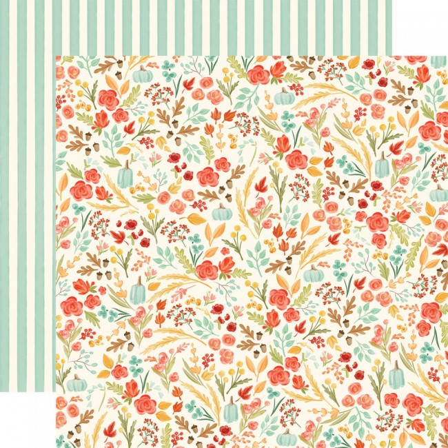 Papel Estampado Doble Cara 12x12 Fall Market Fall Floral