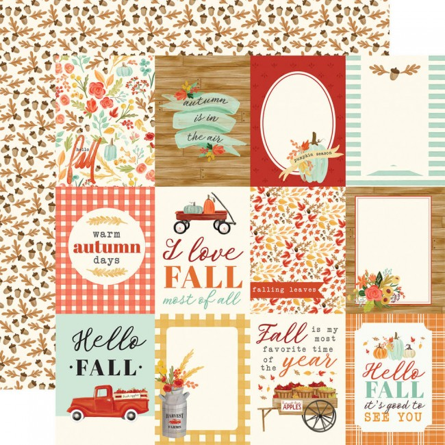 "Papel Estampado Doble Cara 12x12 Fall Market 3""X4"" Journaling Cards"