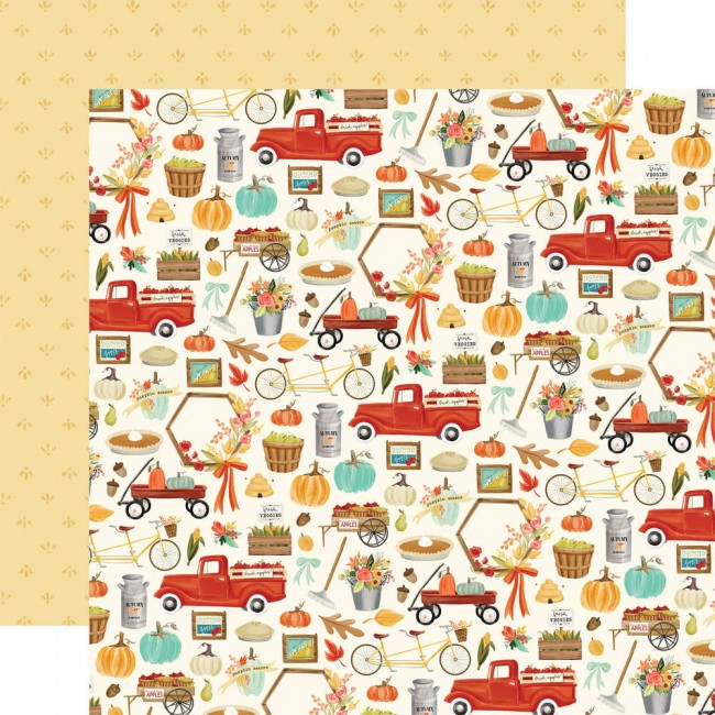 Papel Estampado Doble Cara 12x12 Fall Market Happy Harvest