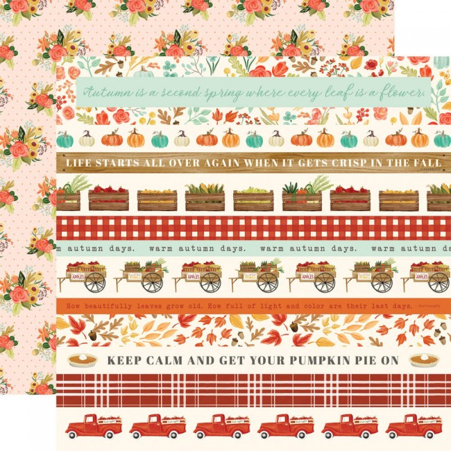 Papel Estampado Doble Cara 12x12 Fall Market Border Strips