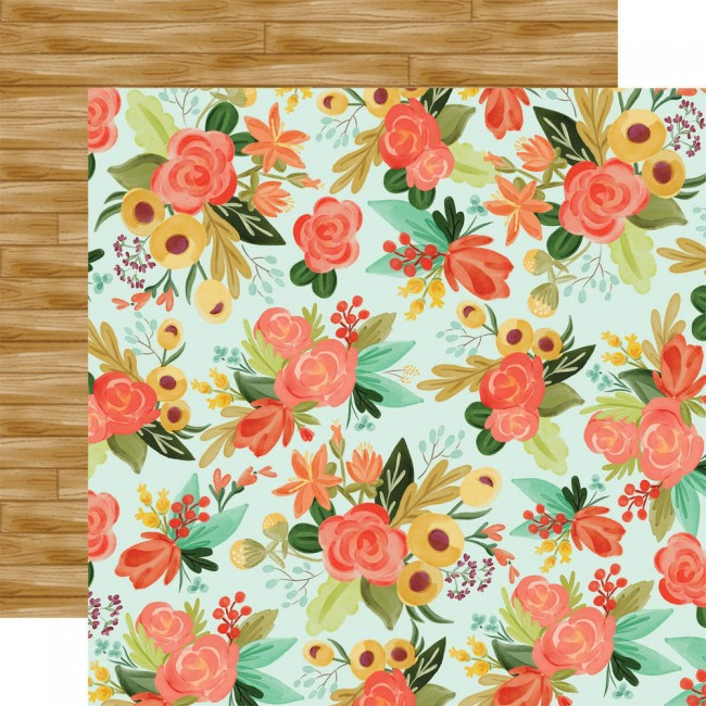 Papel Estampado Doble Cara 12x12 Fall Market Autumn Floral