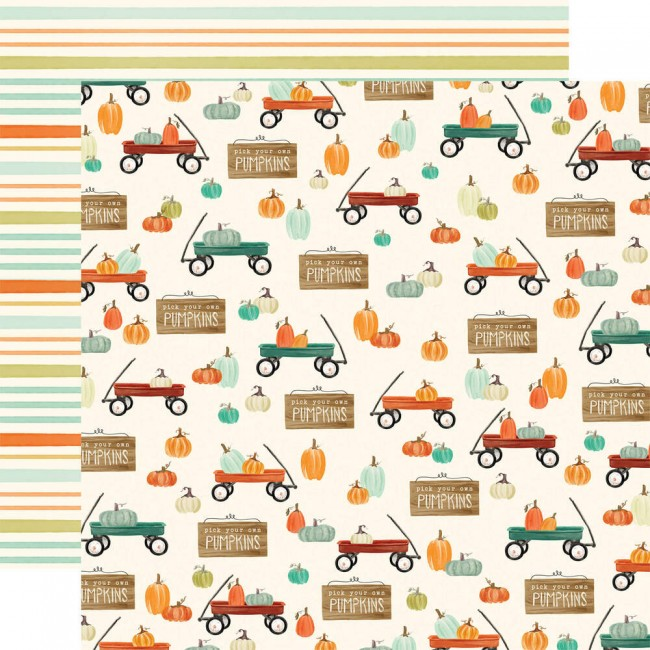 Papel Estampado Doble Cara 12x12 Fall Market Wagon Time