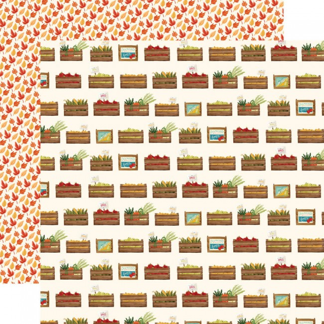 Papel Estampado Doble Cara 12x12 Fall Market Harvest Crates