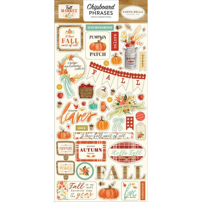 Chipboard 6x13 Fall Market Phrases