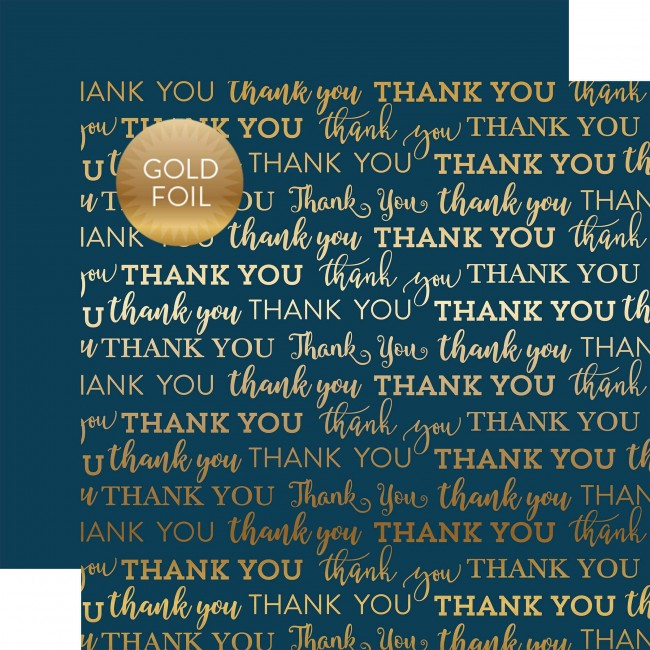 Cartulina Texturizada 12x12 - Thank You Gold Foil - Navy