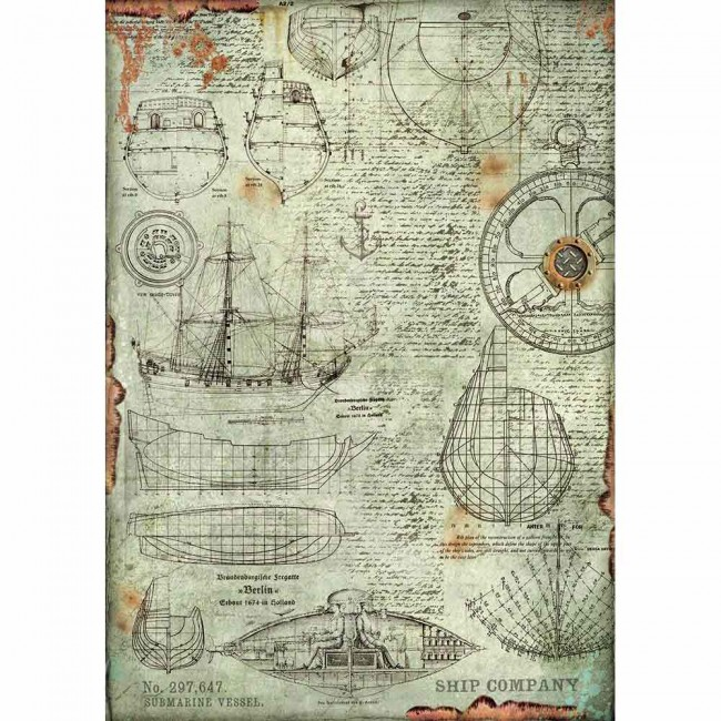 Papel de arroz decoupage A3 Mechanical Sea World Boat Project
